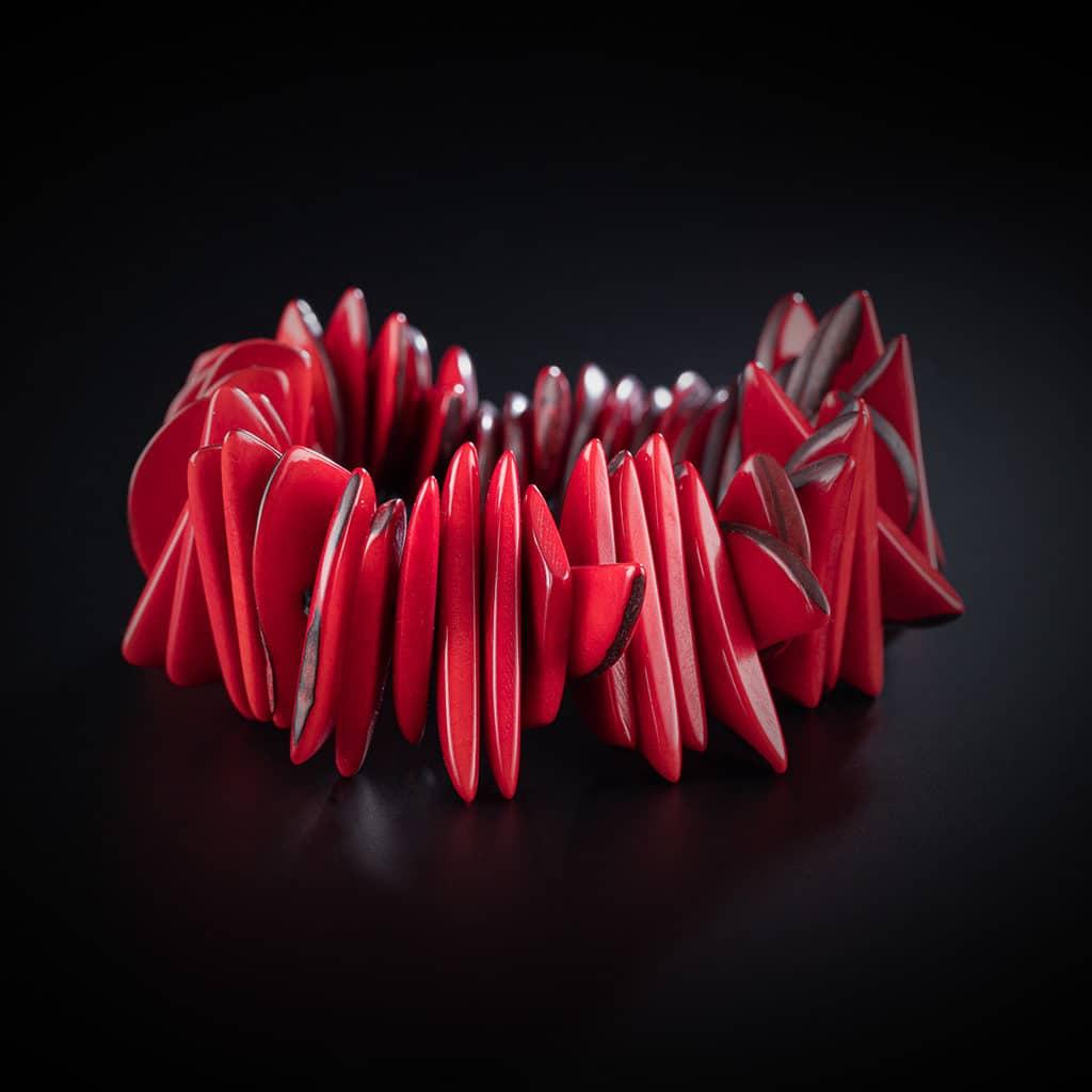 Bracelet rouge en ivoire végétal collection Ivoire végétal bijouterie Côté Argent Castres